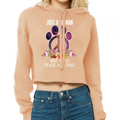 Just A Woman Who Loves Peace And Dogs Cropped Hoodie Designed By Wizarts