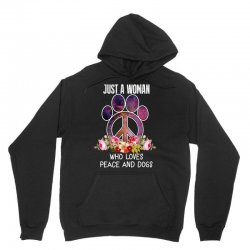just a woman who loves peace and dogs Unisex Hoodie   Artistshot