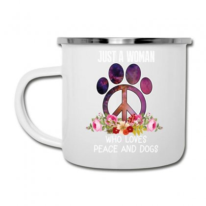 Just A Woman Who Loves Peace And Dogs Camper Cup Designed By Wizarts
