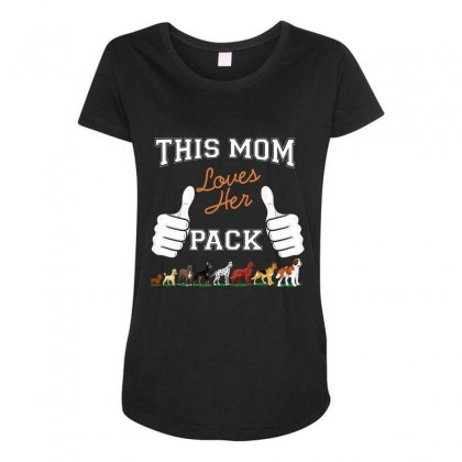 This Mom Loves Her Pack Maternity Scoop Neck T-shirt Designed By Wizarts