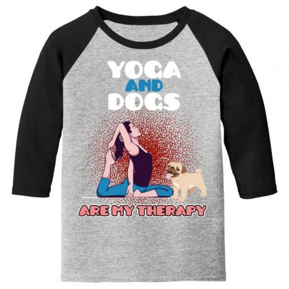Yoga And Dogs Are My Therapy Youth 3/4 Sleeve Designed By Wizarts