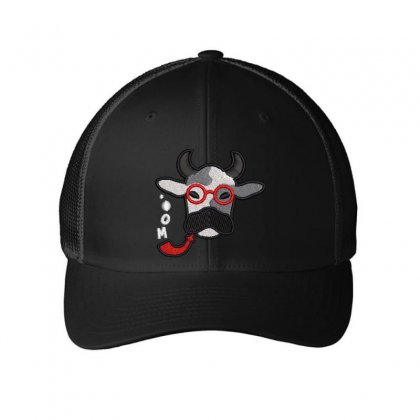 Cow Embroidered Mesh Cap Designed By Madhatter