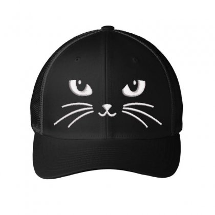 Black Cat Embroidered Mesh Cap Designed By Madhatter