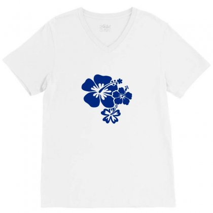 Hibiscus Flowers V-neck Tee Designed By Teeshop