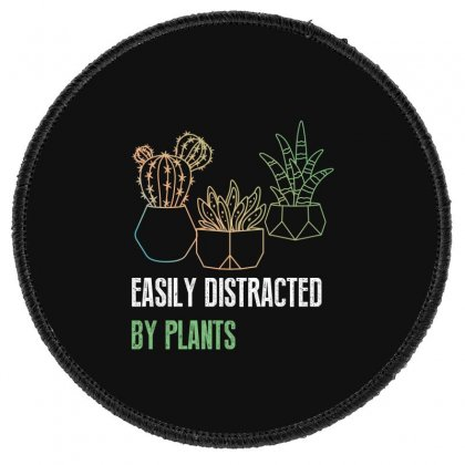 Easily Distracted By Plants Round Patch Designed By Wizarts