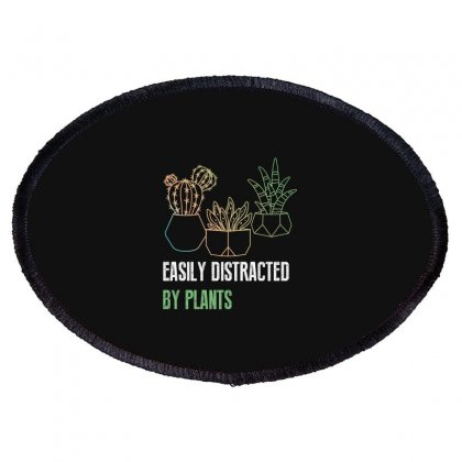 Easily Distracted By Plants Oval Patch Designed By Wizarts