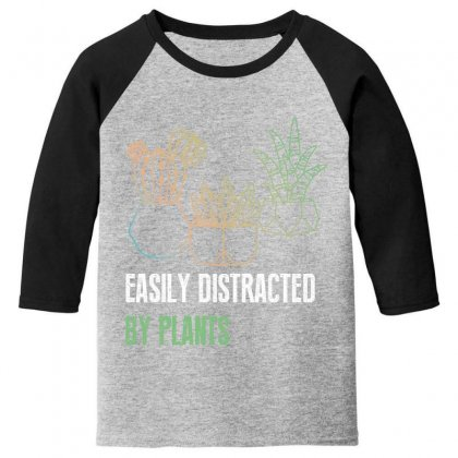 Easily Distracted By Plants Youth 3/4 Sleeve Designed By Wizarts