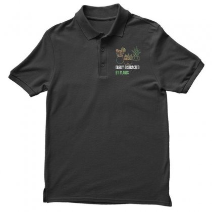 Easily Distracted By Plants Men's Polo Shirt Designed By Wizarts