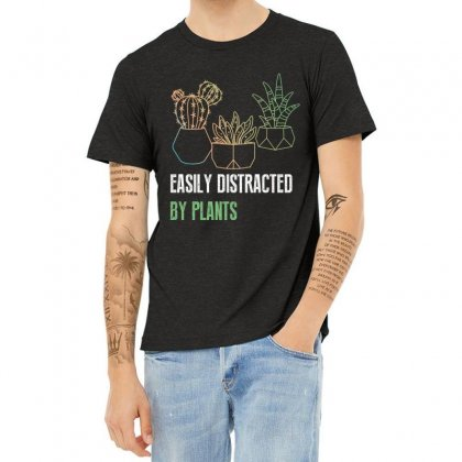 Easily Distracted By Plants Heather T-shirt Designed By Wizarts