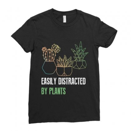 Easily Distracted By Plants Ladies Fitted T-shirt Designed By Wizarts