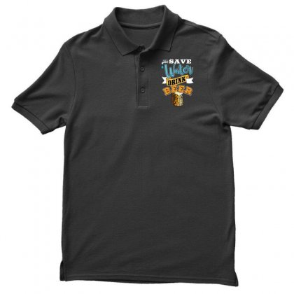 Save Water Drink Beer Men's Polo Shirt Designed By Wizarts