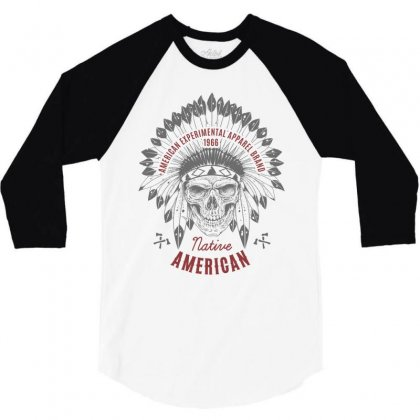 Native American T Shirt 3/4 Sleeve Shirt Designed By Designisfun