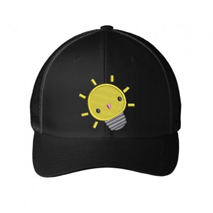 Happy Bulb Embroidered Mesh Cap Designed By Madhatter