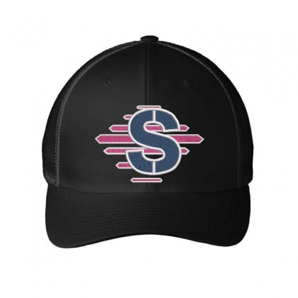 S Alphabet Embroidered Mesh Cap Designed By Madhatter