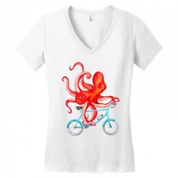 cycling octopus relaxed Women's V-Neck T-Shirt | Artistshot
