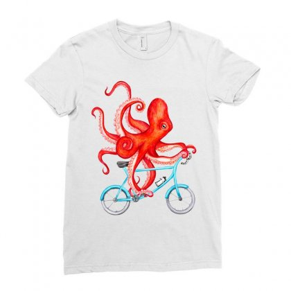 Cycling Octopus Relaxed Ladies Fitted T-shirt Designed By Planetshirts