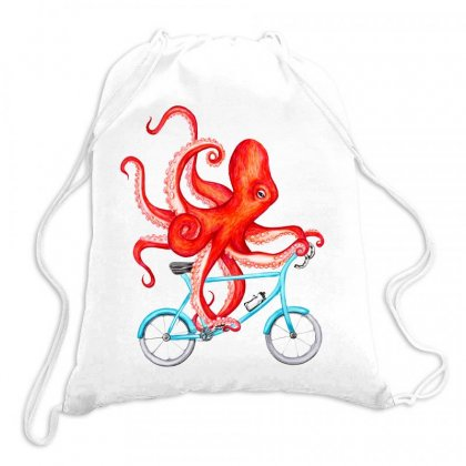 Cycling Octopus Relaxed Drawstring Bags Designed By Planetshirts