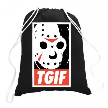 Funny Tgif Friday Drawstring Bags Designed By Delicous