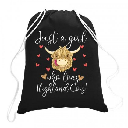 Just A Girl Who Loves Highland Cows For Dark Drawstring Bags Designed By Sengul