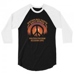 birthplace earth race human politics freedom religion love 3/4 Sleeve Shirt | Artistshot