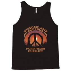 birthplace earth race human politics freedom religion love Tank Top | Artistshot