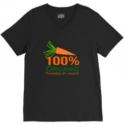 100  organic powered by veggie V-Neck Tee | Artistshot