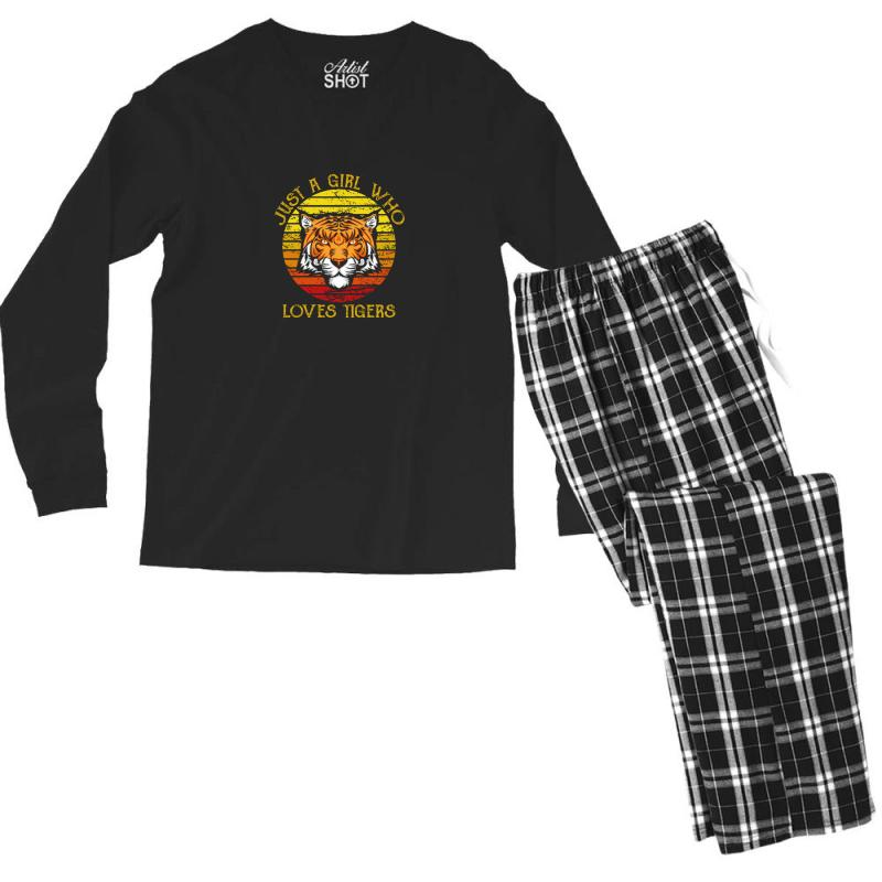 Just A Girl Who Loves Tigers Animal Lover Men's Long Sleeve Pajama Set | Artistshot