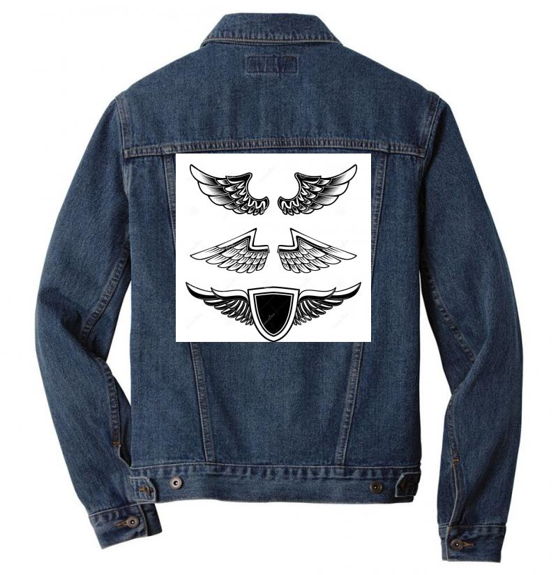Set Vintage Emblems Wings Isolated White Background Design Element Log Men Denim Jacket | Artistshot