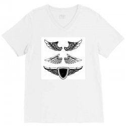 set vintage emblems wings isolated white background design element log V-Neck Tee | Artistshot