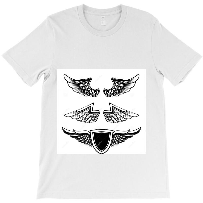 Set Vintage Emblems Wings Isolated White Background Design Element Log T-shirt | Artistshot