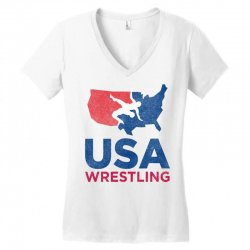 usa wrestling eroded Women's V-Neck T-Shirt | Artistshot