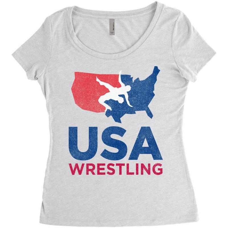 Usa Wrestling Eroded Women's Triblend Scoop T-shirt | Artistshot
