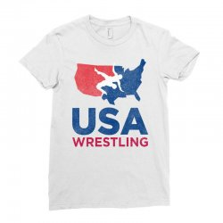 usa wrestling eroded Ladies Fitted T-Shirt | Artistshot