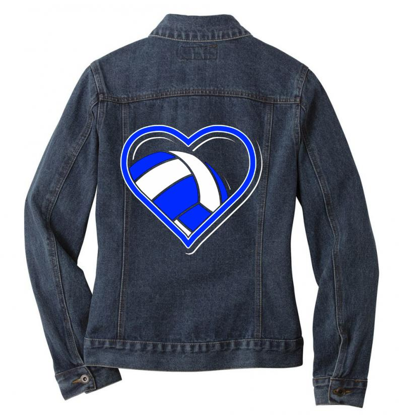 Volleyball Heart Ladies Denim Jacket | Artistshot