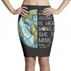 volleyball is her world she is mine Pencil Skirts | Artistshot