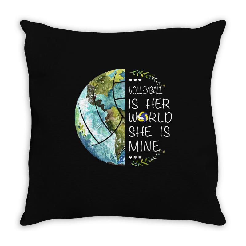Volleyball Is Her World She Is Mine Throw Pillow | Artistshot