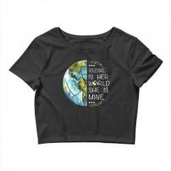 volleyball is her world she is mine Crop Top | Artistshot
