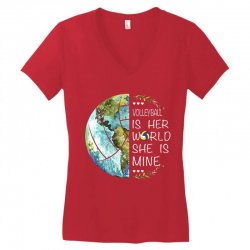 volleyball is her world she is mine Women's V-Neck T-Shirt | Artistshot
