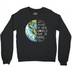 volleyball is her world she is mine Crewneck Sweatshirt | Artistshot