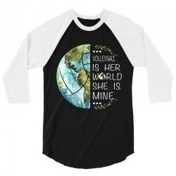 volleyball is her world she is mine 3/4 Sleeve Shirt | Artistshot