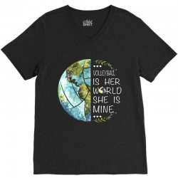 volleyball is her world she is mine V-Neck Tee | Artistshot