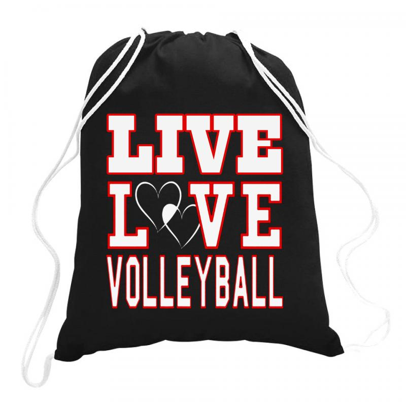 Volleyball Live Love Volleyball Drawstring Bags   Artistshot