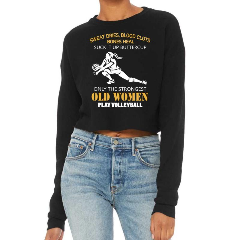 Volleyball Old Women Cropped Sweater | Artistshot