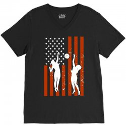 volleyball two players american flag V-Neck Tee   Artistshot