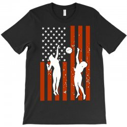 volleyball two players american flag T-Shirt   Artistshot