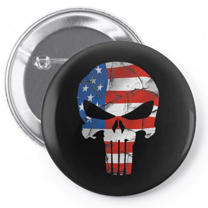 The Punisher - Usa Flag Grunge Pin-back Button Designed By Jetstar99
