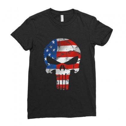 The Punisher - Usa Flag Grunge Ladies Fitted T-shirt Designed By Jetstar99