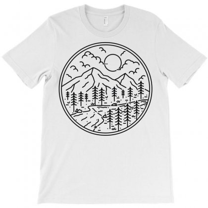 River And Mountain T-shirt Designed By Quilimo