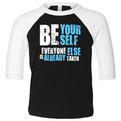 Be Yourself Toddler 3/4 Sleeve Tee Designed By Designisfun