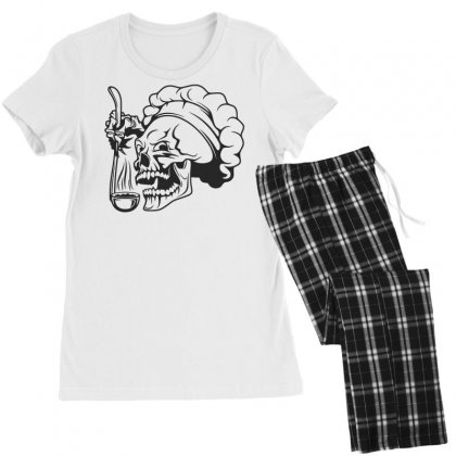 Chef Skull T Shirt Women's Pajamas Set Designed By Dinugraha